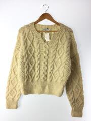 19AW/cable hand knitting tops/アランニットセーター(厚手)/FREE/ウール/WHT