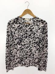 19SS/長袖Tシャツ/M/コットン/BLK/総柄/GC-T042/襟汚れ有