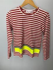 16SS/切替長袖Tシャツ/M/コットン/RED/ボーダー/6Q-T001