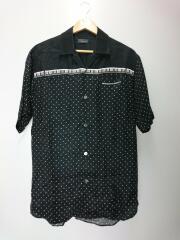 ピアノ柄オープンカラーシャツ/半袖シャツ/2/テンセル/BLK/ドット/UCS4406