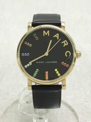 MJ1591/クォーツ腕時計/アナログ/レザー/BLK/BLK/風防キズ有