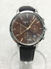 クロノグラフ/クォーツ腕時計/アナログ/レザー/VD53-KWB0
