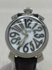 クォーツ腕時計/マヌアーレ48MM/5014.02S/アナログ/レザー/WHT/BLK