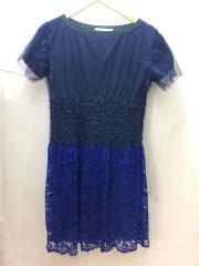 半袖ワンピース/2/ウール/ネイビー/ニット/レース/2012AW/12AWLU436/装飾/デザイナー