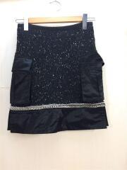 スカート/1/ウール/ブラック/10AWLU176/ニットスカート/ポケット切り替え/装飾/変形