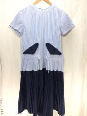 プリーツ切替ワンピース/2/コットン/青/ブルー/ストライプ/17-03194/ネイビー/紺/