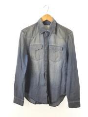 樹脂コーティングシャツ/長袖シャツ/コットン/インディゴ/デニム/⑩/ウエスタンシャツ