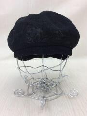 ベレー帽/ポリ18/リネン82/黒