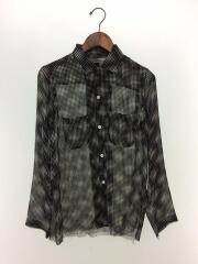 オープンカラーシャツ/シースルー/カットオフ/長袖シャツ/S/ポリエステル/黒/ブラック/総柄