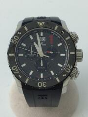 クォーツ腕時計/アナログ/ビッグデイト/30気圧/300m/クロノグラフ/黒