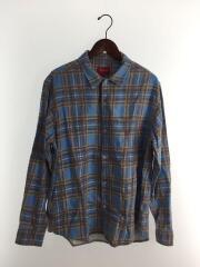 20SS/Printed Plaid Shirt/長袖シャツ/M/コットン/BLU/チェック