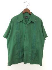 キューバシャツ/old/70s/80s/オープンカラーシャツ/ヴィンテージ/XL/リネン/グリーン/緑