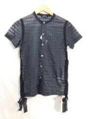 半袖ブラウス/ad2006/ブラック/シースルー/リボン/テープ/半袖シャツ/デザインカットソー