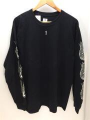 長袖Tシャツ/L/コットン/ブラック/黒/バックプリント/袖プリント/ロンT/プリントTee/古着