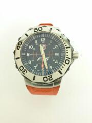 クォーツ腕時計/アナログ/ラバー/BLK/ORN