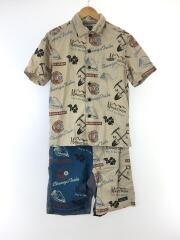 プリント柄半袖シャツ・ショートパンツ/セットアップ/M/リネン/BEG