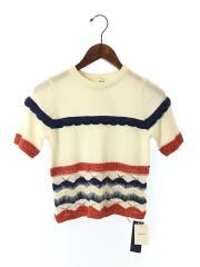 半袖セーター(薄手)/FREE/コットン/WHT/総柄/2018年モデル/タグ付