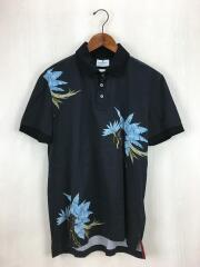 ポロシャツ/L/コットン/BLK/花柄/半袖/切替/セカスト
