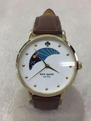 クォーツ腕時計/アナログ/レザー/WHT/BRW/KSW1073