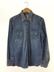 Sawtooth Shirt/ユーズド加工デニム長袖シャツ/07205-0033/S/コットン/IDG
