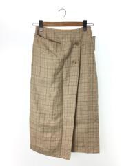 リネンシルクチェックミディIラインスカート/36/リネン/BEG/チェック/19年モデル