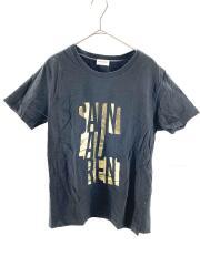 ロゴTシャツ/S/コットン/BLK/メタリックプリント/フロントプリント