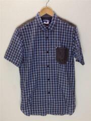 半袖シャツ/M/コットン/BLU/チェック/WM-B046
