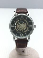 エスエーエス/自動巻き腕時計/アナログ/レザー/BLK/BRW