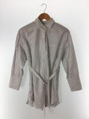 19model/共地ベルト付ロングシャツ/FREE/コットン/WHT/ストライプ
