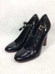アンクルストラップパンプス/シューズ/靴/36.5/ブラック/黒/エナメル/ヒール/レディース