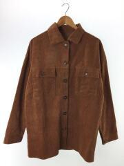 コーデュロイCPOシャツジャケット/M/コットン/ブラウン/無地/XN0166/古着/中古