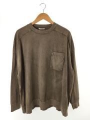 長袖ポケットTシャツ/1/コットン/BRW/無地