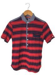 13ss/ワイドカラーポロシャツ/ポロシャツ/S/コットン/RED/ボーダー