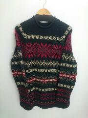 セーター(厚手)/M/コットン/BLK/総柄/ノルディック柄/ラグラン袖/2