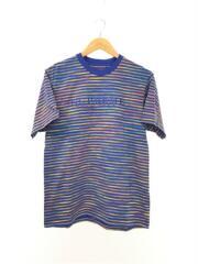 18SS/Static Stripe Top Tee/Tシャツ/S/コットン/ブルー/ボーダー/シュプリーム