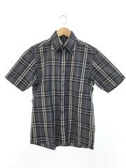半袖バーバリーチェックシャツ/1/コットン/グレー/襟元汚れ有/BMW30-907-06