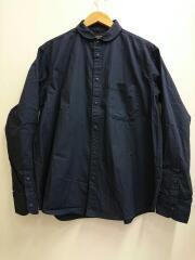 プランサーボタンラウンドカラーシャツ/XL/コットン/ネイビー/668-9220033