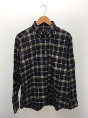 ボタンダウンネルシャツ/L/コットン/NVY/チェック