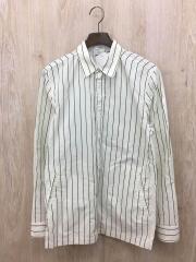 長袖シャツ/M/ウール/ストライプ/首回り汚れあり