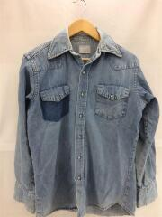 70s/デニムウェスタンシャツ/長袖シャツ/--/コットン/IDG/片ポケットなし/汚れ有
