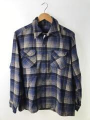 70s/オープンカラーウールシャツ/M/ウール/NVY