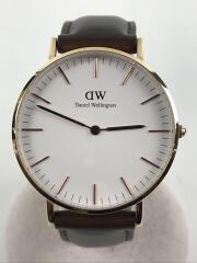Classic Bristol Rose Gold 36mm/クォーツ腕時計/アナログ/レザー/WHT/BRW