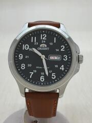 クォーツ腕時計/アナログ/レザー/BLK/CML
