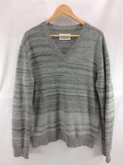 セーター(薄手)/L/ウール/GRY/Vネックセーター/シミ有り