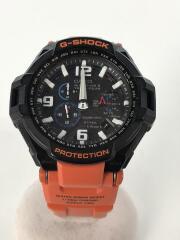 ソーラー腕時計・G-SHOCK/アナログ/ORN/グラヴィティマスター/スカイコックピット/黒オレンジ