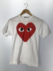 ハートプリント ハートワッペンTシャツ/S/コットン/WHT/AZ-T026