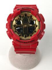 クォーツ腕時計・G-SHOCK/デジアナ/ラバー/GLD/RED/GA-100VLA