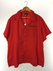 80-90s/ブロックロゴ/オープンカラー/開襟/半袖シャツ/3L/コットン/レッド