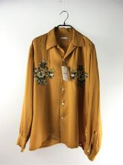 18SS/長袖シャツ/1/ポリエステル/キャメル/花柄オープンカラーシャツ/25108-1101