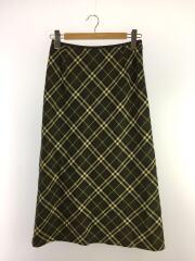 FXA87-073/スカート/ミモレ丈/40/ウール/グリーン/カーキ/チェック